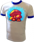 Magic Mushrooms Blue Boys Vintage T-Shirt border=